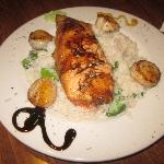 Salmon and Scallops over Coconut Rice