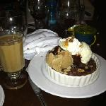 The brownie & ice cream, with a cup of Kehele