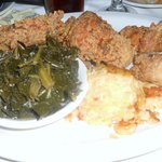 Iron Skillet Buttermilk Fried Chicken w/collard greens and mac & cheese