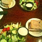 Salad and half sandwich