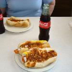 Great Chili Dogs and Coke in a 6oz bottle.