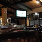 Bar with TV set