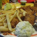 Chicken, fries and coleslaw