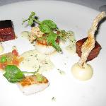 Scallops & confit pork belly, smoked parsnip puree, black forest ham veloute, crisp pork crackli