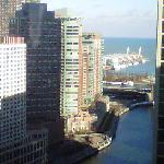 view of river and lake michigan from 30th floor