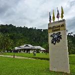 Resort sign near road