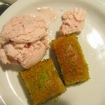 The dessert: baklava with strawberry icecream