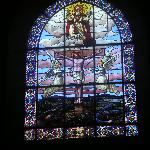 Stained glass in church opposite the hotel