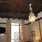 Room with wooden beam ceiling