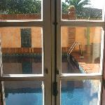 our patio door opening onto the pool