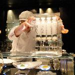 Chef Jeff Ramsey demonstrating the use of the 'caviar box' to make pearls.