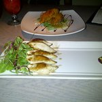 starters - stuffed calamari and spicy prawns