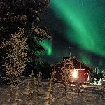 Aurora Borealis in cottage area of Seita Hotel, Äkäslompolo