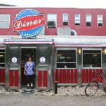 My wife in front of the diner
