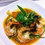 winter curry w grilled tiger prawns: special of the day.
