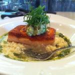 organic spring salmon with asparagus & prawn risotto