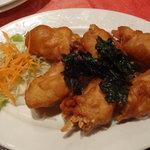 Poulet frit avec juliennes de taro