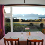 Dinner while watching the sun set over Lake Manapouri