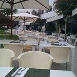 Outdoor breakfast area.
