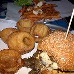 mushroom burger with sweet potato fries