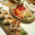 The delicious prawn tempura sushi and fresh plate of sashimi :)