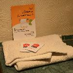 Our thin towels and shampoo packets