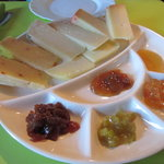 Various cheese and marmelades