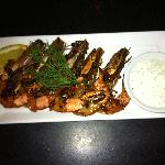 Chili Garlic Marinated Shrimp with Citrus Sour Cream & Dill
