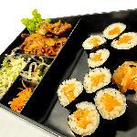 Beef Yakiniku and Salmon Sushi Box