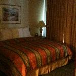 Comfy bed. Room darkening curtains.