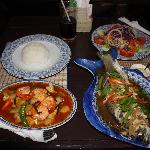 Fish, salad, prawn stir-fry...delicious!!
