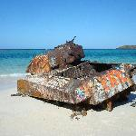 A tank in Flamenco Beach