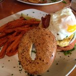 Breakfast burger with sweet potato fries