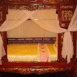 beautiful carved bed, but no time to use it