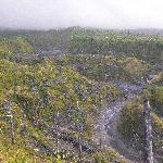 Path of destruction and the remaining lava bed