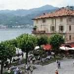 The town square with the beautiful Lake Orta in the background