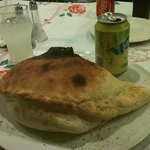 a small ham and mushroom calzone uumm nothing small about it except price at 8€