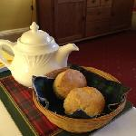 Tea and scones at breakfast