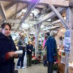 My husband Luke getting a sandwich from the Woodstock Farmer's Market