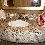 Vanity sink in bathroom