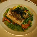 fillet of halibut w green peas