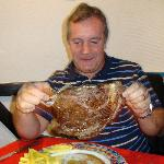 Our friend with the biggest steak at El Gallego
