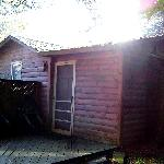 Back door of smallest cabin.