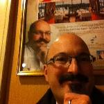Here's me in front of Massimo Capra's poster for the Rainbow Room