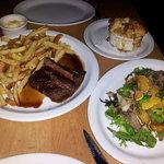 Bavette steak frites, Mac & Cheese, and Frisee/Confit Salad
