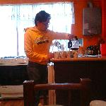 David serving breakfast