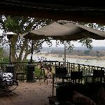 Breakfast on the Verandah watching animals across the River