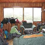 Living area with all our backpacks