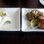 Delicious combo (Salmon Bruschetta on the right)
