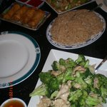 Chicken Broccoli, Fried Rice, Egg Rolls, Chicken Chop Suey
